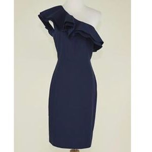 J. Crew Silk Cotton One Shoulder Ruffle Dress Navy